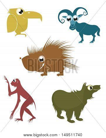 Comic cartoon funny animals set for design