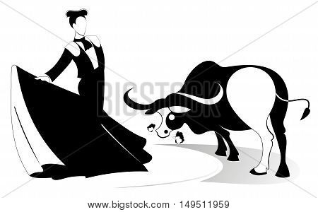 Bullfight. Bullfighter and a bull original illustration silhouette