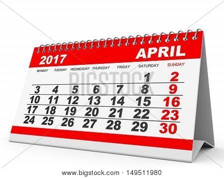 Calendar April 2017 On White Background.