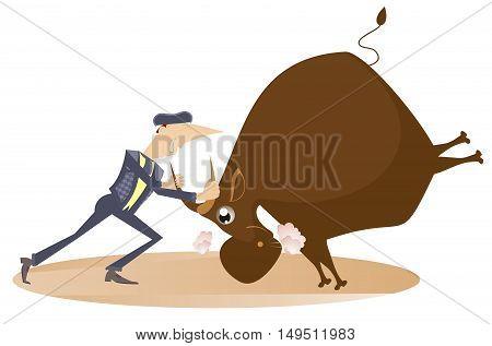 Bullfight. Bullfighter holds a bull by horns