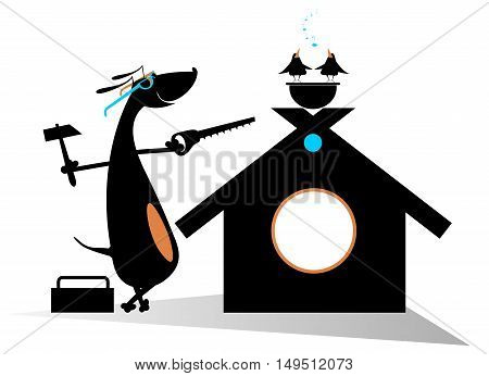 Dog a builder. Comic dog holds a hammer and hacksaw and renovates doghouse
