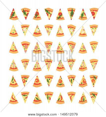 Set of pizza slices with different toppings including shrimps chili pepper mushrooms bacon cheese onion tomatoes salami. Vector illustration. Cartoon style