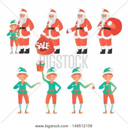 Design template with Santa Claus and elves. Vector illustration. Cartoon style