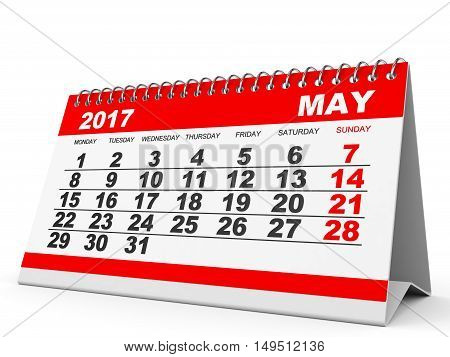 Calendar May 2017 On White Background.