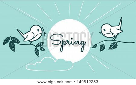 Vector monochrome line cartoon illustration of two cute birds sitting on tree branches with sun and cloud in sky with space for text caption. Spring and nature themed design element for web and print