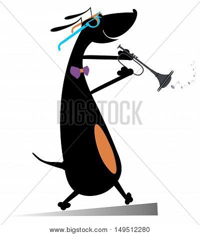 Dog plays on trumpet. Cartoon dachshund plays on trumpet