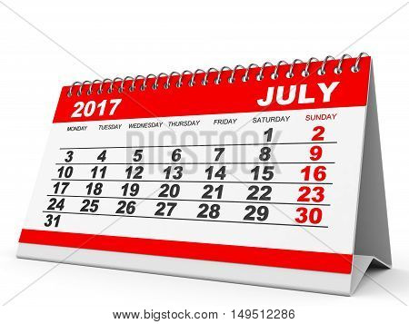 Calendar July 2017 On White Background.