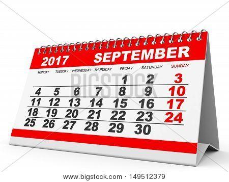 Calendar September 2017 On White Background.