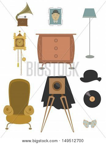 Vintage retro old things set for design