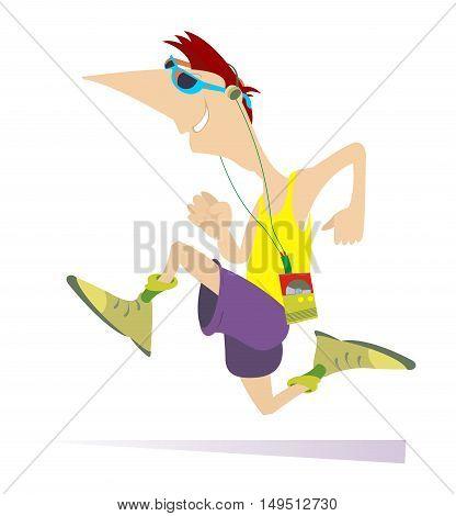 Runner Comic cartoon man is running color illustration