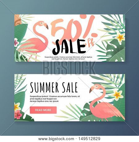 Bright flyer with flamingos. Sale banner template and special offer. 50 off. Vector illustration. The flyer can be used for a beauty salon, a clothing store, cosmetics. Web banner for the shop.