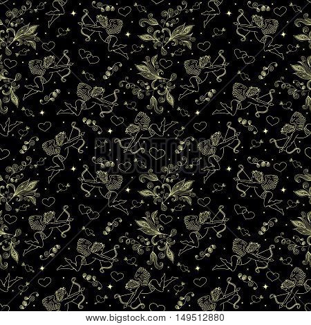 Illustration of seamless pattern with doodle cupids hearts and floral elements