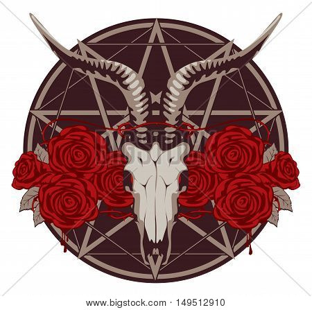 emblem with goat skull and roses with a pentagram