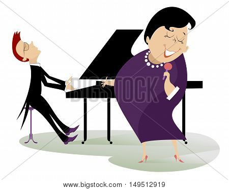 Singer woman and a pianist performance music with inspiration