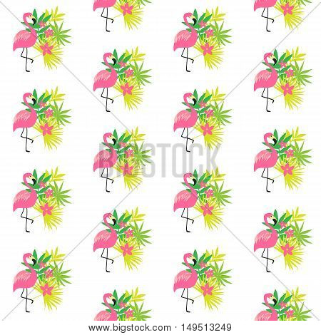 Seamless pattern with pink flamingo and tropical plants, isolated on white