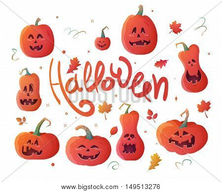 Set pumpkins for Halloween. Vector elements can be used for invitations, flyers, parties, promotion