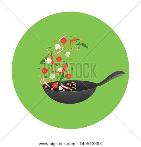 Cooking process vector illustration. Flipping Asian food in a pan. Cartoon style