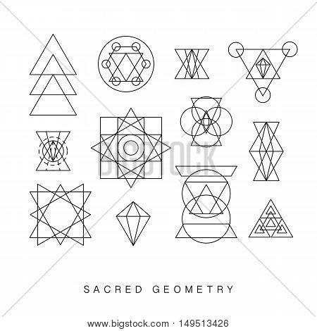 Sacred geometry signs set. Linear Modern Art. Vector illustration