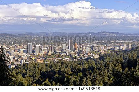 Portland Oregon panorama with surroundings from Pittock Mansion.