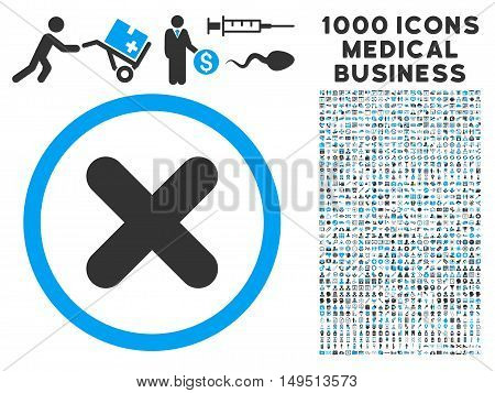 Cancel icon with 1000 medical commerce gray and blue glyph pictograms. Design style is flat bicolor symbols white background.