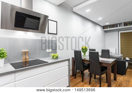 Kitchen Open To A Dining Area