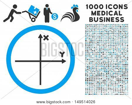 Cartesian Axis icon with 1000 medical commercial gray and blue glyph pictograms. Design style is flat bicolor symbols white background.
