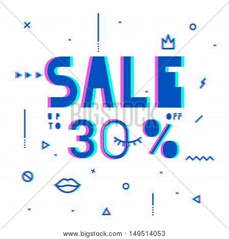 Sale modern banner in the psychedelic style. Template Sale. Big Sale. Special offer. Up to 30 interest discount. Bright colors for a flyer.