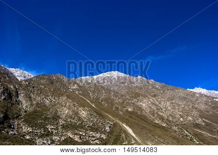 mountain landscape, snow hill, wild nature, blue sky