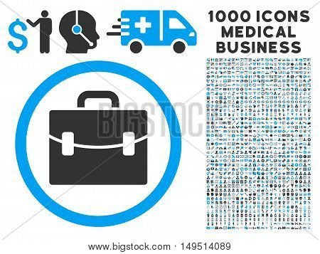 Case icon with 1000 medical commerce gray and blue glyph design elements. Clipart style is flat bicolor symbols white background.
