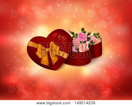 Illustration of valentines day card template with heart shaped gift box bow cupid rose flowers and glitter background