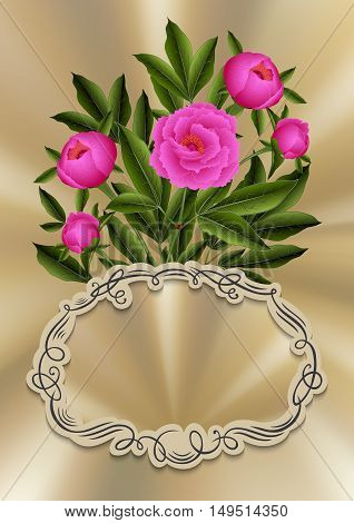 Illustration of greeting or invitation card template with peony flowers and ornate frame