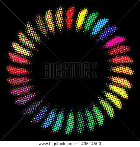 Colorful painted feathers folded into a circle on a black background.