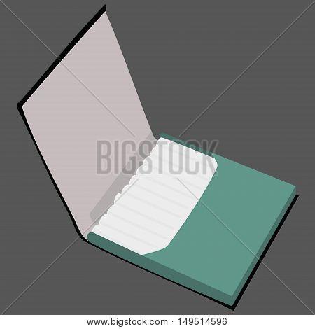 green cigarette case full isolated vector illustration
