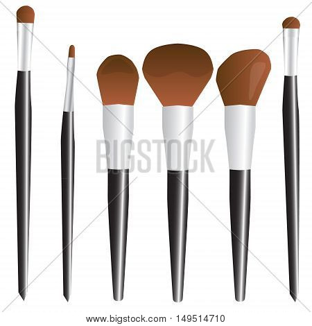 Cosmetic Brush Make-up Set Black Vector Illustration