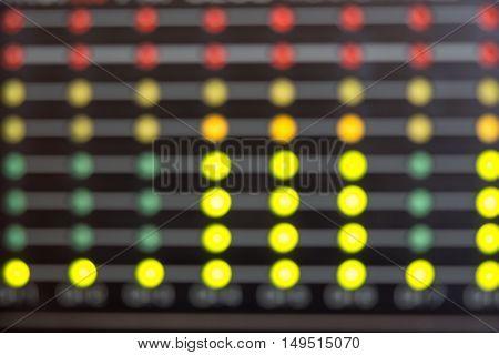 Blurred Audio level LED's indicators. LEDs on photo of multiple colors