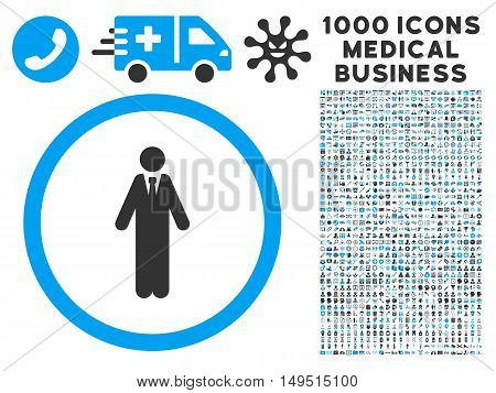 Clerk icon with 1000 medical commerce gray and blue glyph pictographs. Collection style is flat bicolor symbols white background.
