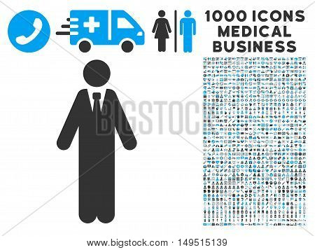 Clerk icon with 1000 medical commercial gray and blue glyph design elements. Clipart style is flat bicolor symbols white background.