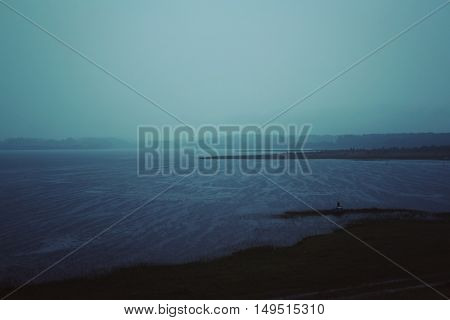 Evening Rain Over Kenozero Lake Russia. Aged Photo