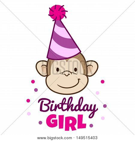 Vector hand drawn cartoon character illustration of a smiling monkey face wearing a pink stripy party hat with caption below that reads