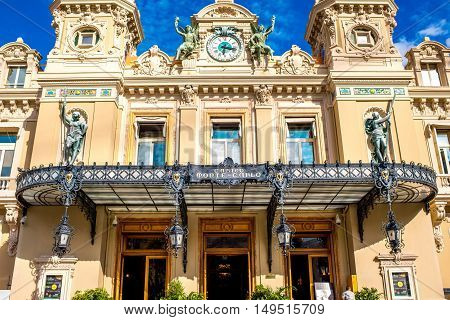 Monte Carlo, Monaco - June 13, 2016: Monte Carlo Casino building in Monaco. This Casino is a gambling and entertainment complex located in Monaco