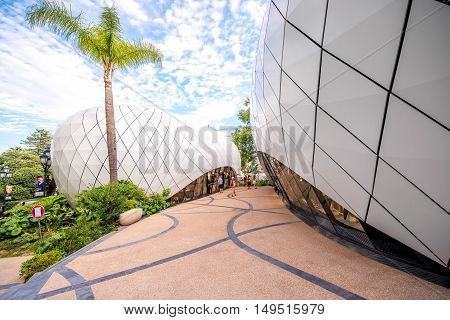 Monte Carlo, Monaco - June 13, 2016: Pavilions with luxury shopes in the Boulingrins Gardens. The pavilions were built with aluminum panels by architects Cherif Jahlan and Richard Martinet