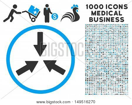 Collide Arrows icon with 1000 medical commerce gray and blue glyph design elements. Collection style is flat bicolor symbols white background.