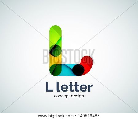 L letter logo, abstract geometric logotype template, created with overlapping elements