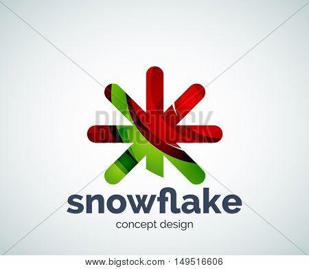 Christmas snowflake logo template, abstract business icon