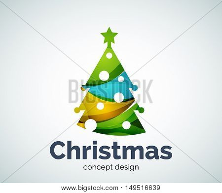 Christmas or New Year tree logo template, abstract business icon