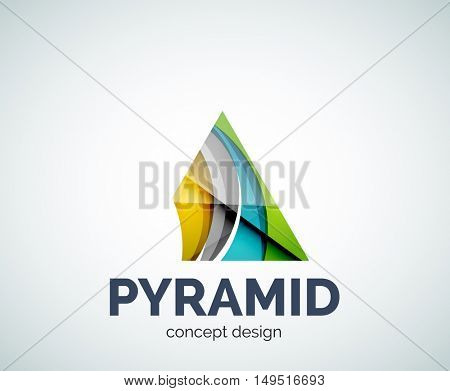 Pyramid logo business branding icon, created with color overlapping elements. Glossy abstract geometric style, single logotype