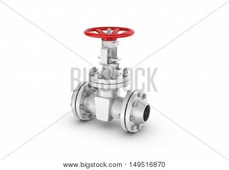 3d rendering metal valves isolated on white background. Water supply and sewerage system. Oil and Gas. Energy facilities. Housing and communal services.