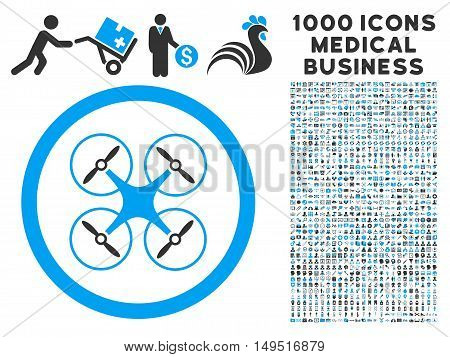 Copter icon with 1000 medical commerce gray and blue glyph design elements. Set style is flat bicolor symbols white background.
