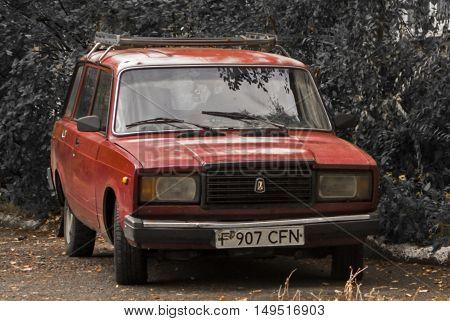 Kazakhstan, Ust-Kamenogorsk, september 30, 2016: Lada, old soviet car in the street, old car, vintage car, zhiguli, retro car, combi, wagon