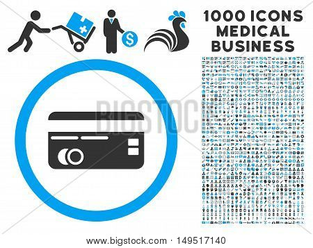 Credit Card icon with 1000 medical commerce gray and blue glyph design elements. Design style is flat bicolor symbols white background.